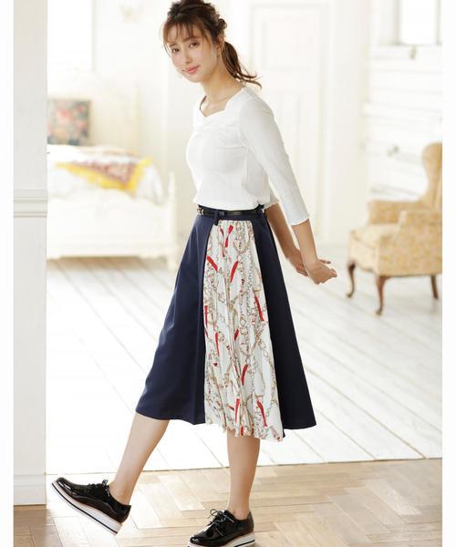 [INGNI] スカーフ切り替えミディ/スカート