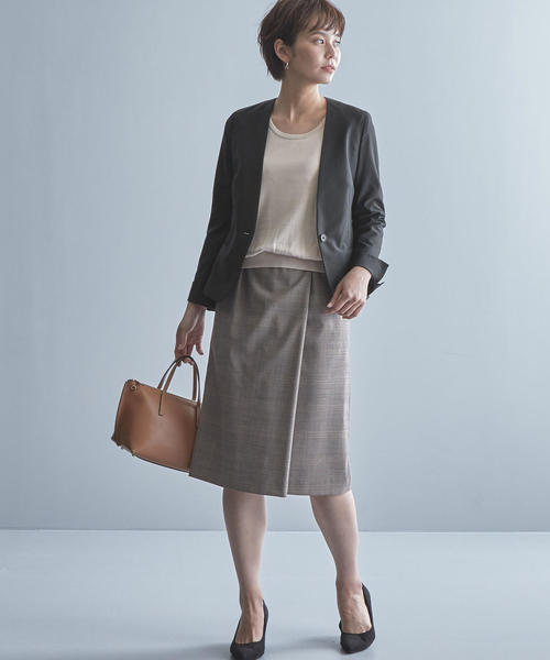 [green label relaxing] 【WORK TRIP OUTFITS】TW/PU トロピカル ノーラペル ジャケット <スタンダード>