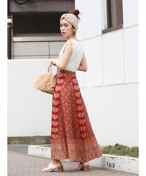 [Ungrid] ペイズリープリントラップスカート
