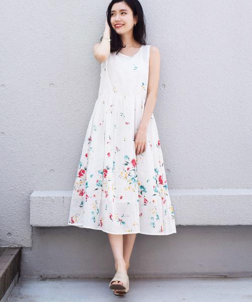 [PICCIN] 【WEB限定】パネルフラワーロングワンピース