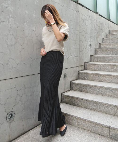 [AKTE] シャイニーニットスカート