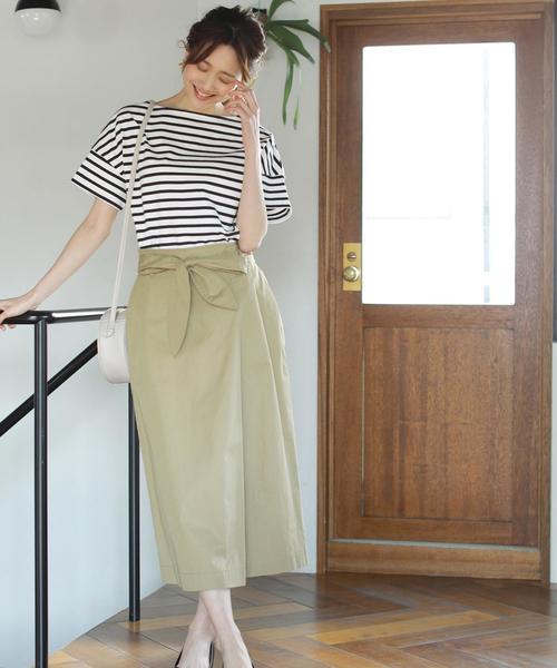 [coen] 【『リンネル』6月号掲載】ボーダーボートネックTシャツ