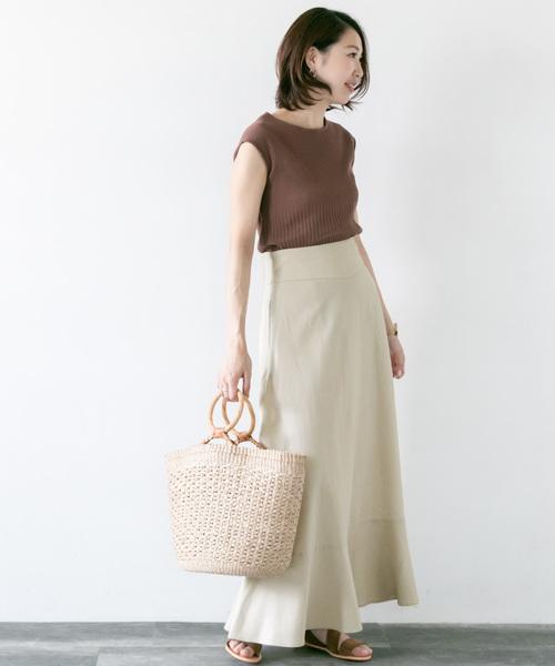 【Oggi掲載】【高機能リネン】マキシスカート