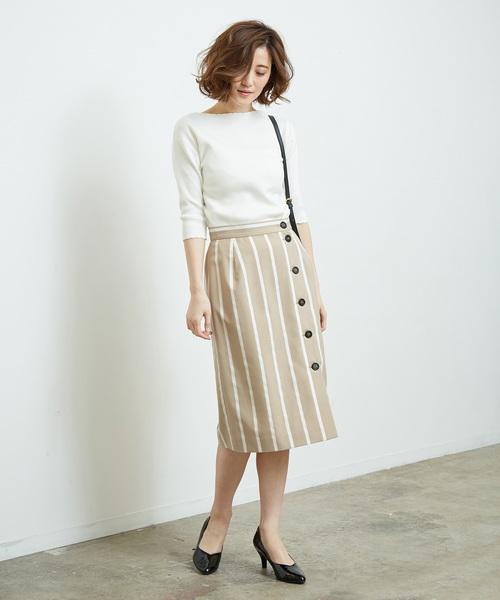 [ROPE' PICNIC] 前釦Iラインストライプスカート