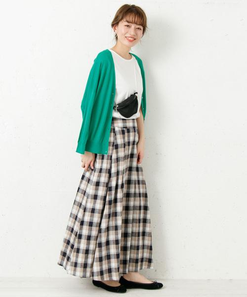 [URBAN RESEARCH] リネンチェックフレアロングスカート