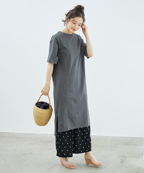 空紡糸Tシャツワンピース