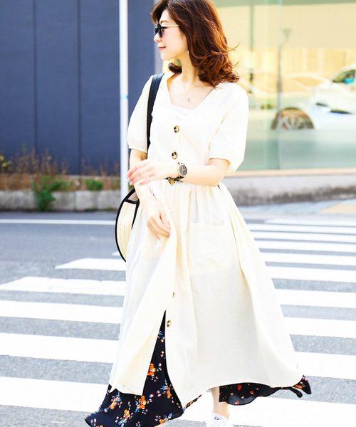 [Fashion Letter] ポケット付き半袖シャツワンピース