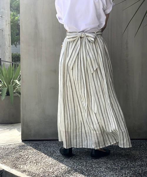 [nano・universe] フレンチリネンギャザースカート