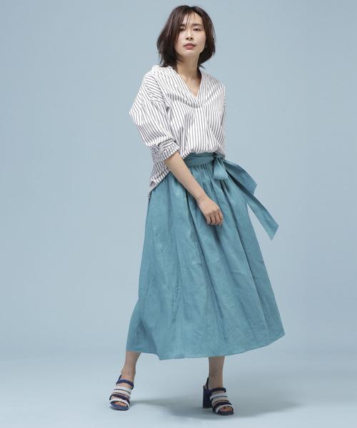 フレンチリネンギャザースカート