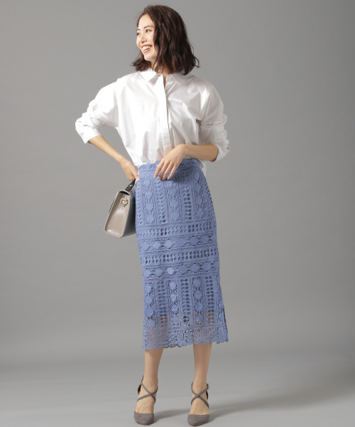 [Andemiu] ケミカルレースタイトスカート