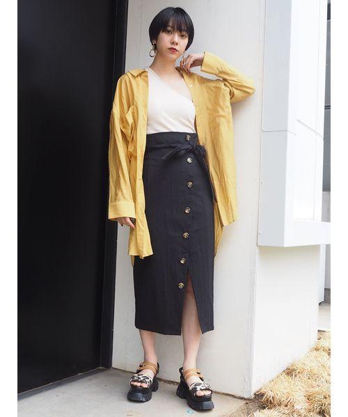 [MURUA] ボタンペンシルタイトスカート