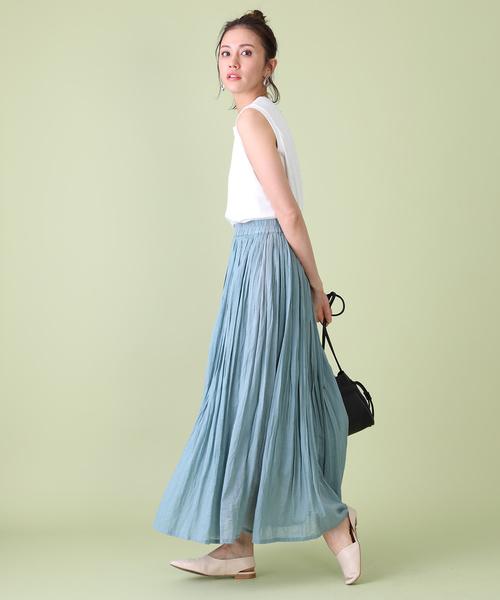 [FREAK'S STORE] 【WEB限定】ボイルギャザーロングスカート