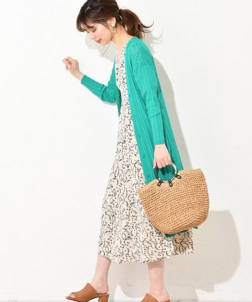 [natural couture] 強撚お上品ロングリブカーデ