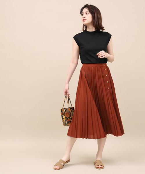 [ROPE'] 【ペチコート付き】サイドボタンプリーツスカート