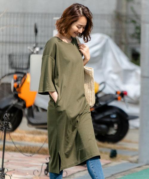 [夢展望] クルーネックorVネックポケット付き裾スリットマキシワンピース