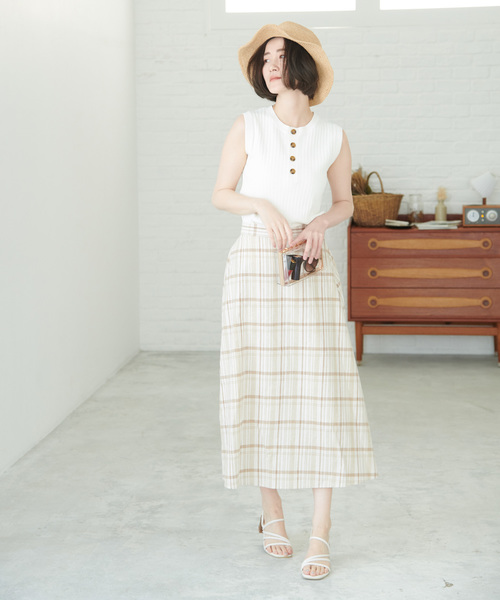 [ROPE' PICNIC] 【WEB限定】綿麻チェックロングスカート