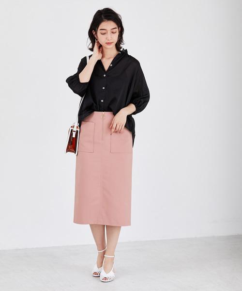 [ADAM ET ROPE'] ポケット付フロントジップタイトスカート