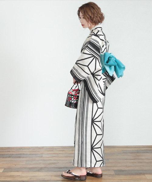 [titivate] 麻の葉古典柄綿麻単品浴衣