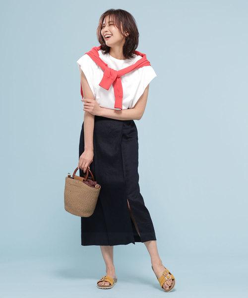 [nano・universe] フレンチリネンラップ風スカート