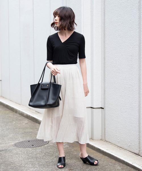 [YARD PLUS] AUNT MARIE'S ピンドットプリーツロングスカート