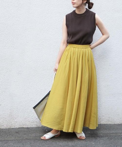 [ADAM ET ROPE'] 【WEB限定】カラーロングスカート