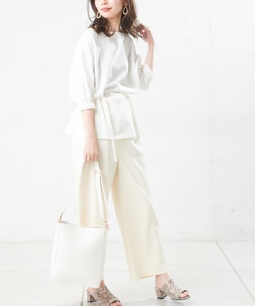 [natural couture] 細ベルト付きボートネックT