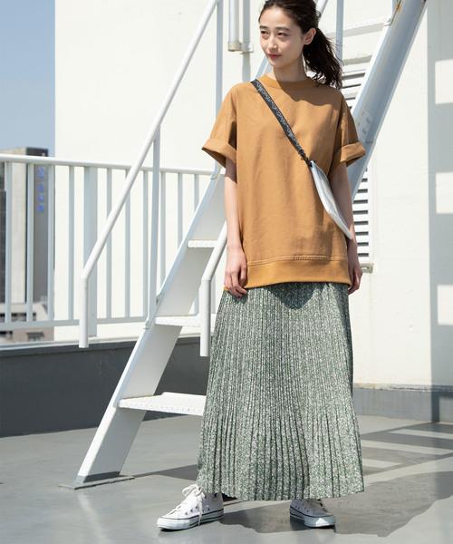 [ViS] 【WEB限定】花柄プリーツロングスカート