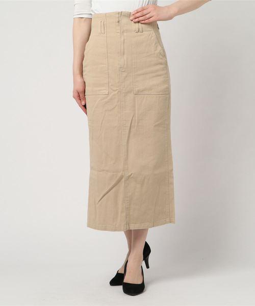 [STYLEBLOCK] コットンツイルハイウエストロングタイトスカートペンシルスカート