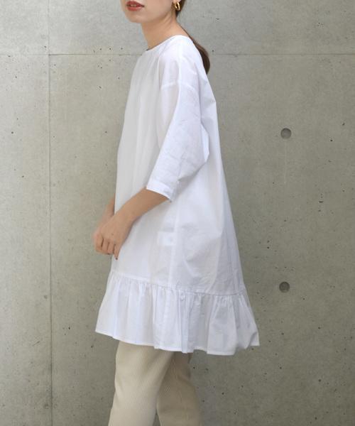 [w closet] コットンローン裾フリル半袖ワンピース