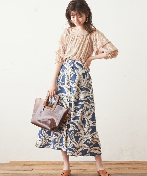 [natural couture] レースシャーリングショートブラウス