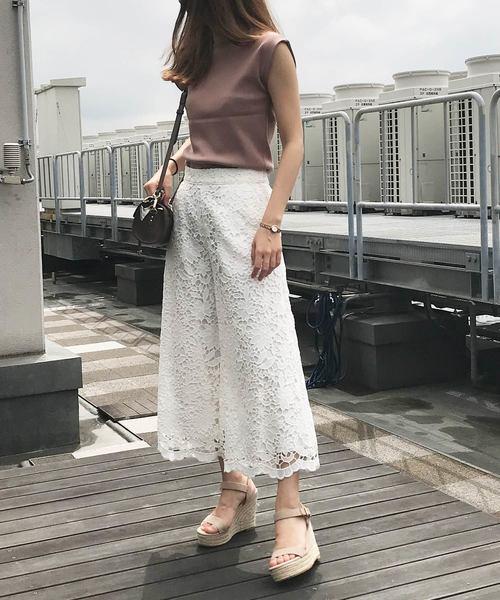 [Noela] ケミカルレースガウチョパンツ