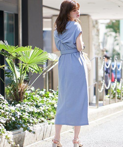 [natural couture] バックねじり&スナップワッフルワンピ