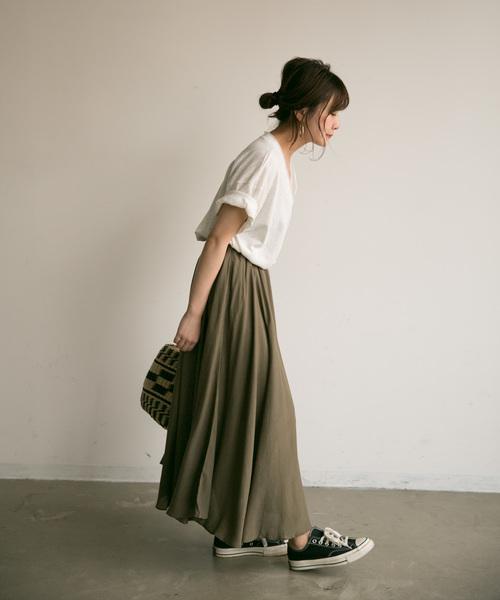 [Auntie Rosa] 【Holiday】リネンブレンドギャザーマキシスカート