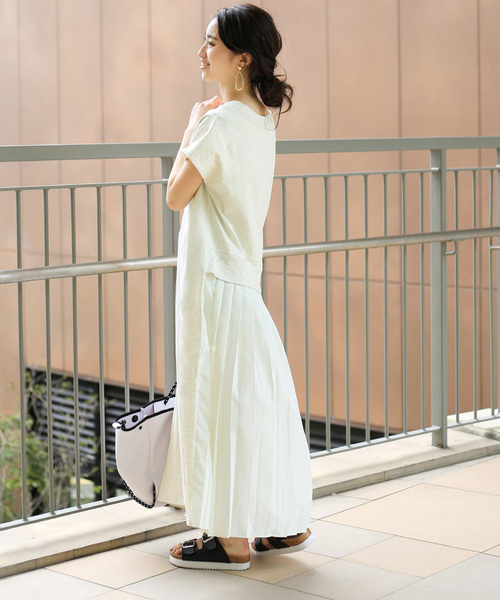 バックスタイルが可愛い!◆スウェット後ろプリーツ半袖ワンピース