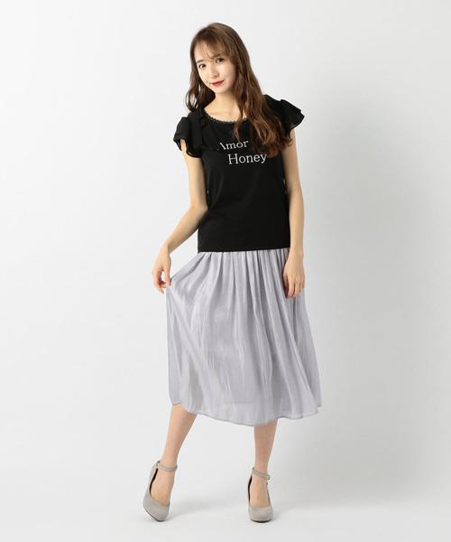 [LODISPOTTO] サテンプリーツスカート