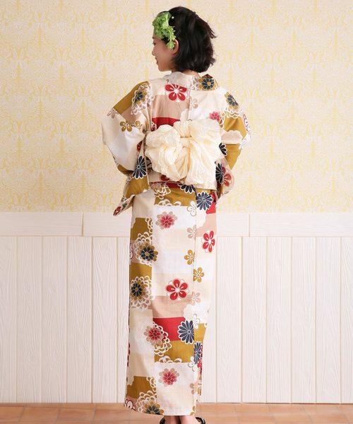 [utatane] 浴衣単品 赤と金茶の変わり市松と梅
