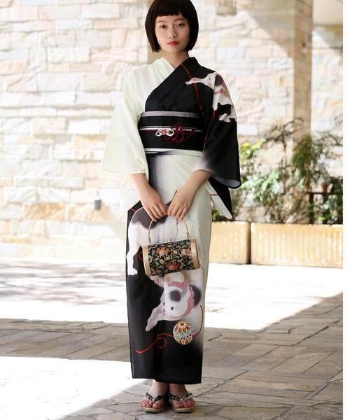 [utatane] CoolPass 絵羽浴衣3点セット 白黒ぼかしに江戸猫と鞠