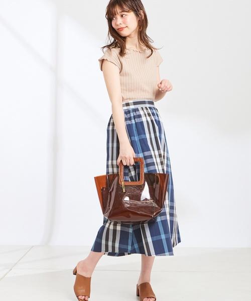 [natural couture] カラービックチェックフレアスカート