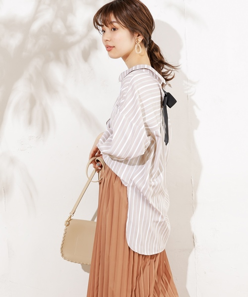 [natural couture] バックリボンミリタリーシャツブラウス