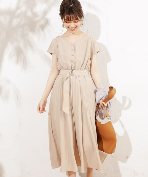 [natural couture] 前後2WAYカシュクールプリーツワンピース