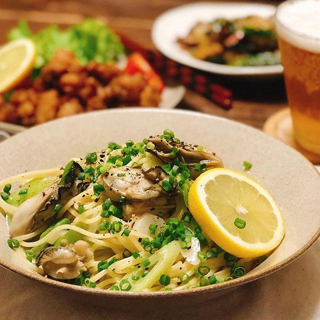 たっぷりネギと牡蠣のスパゲティ