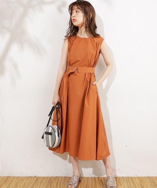 [natural couture] Dかんベルト付タックフレアワンピース