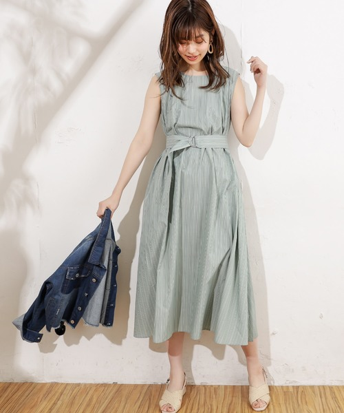 [natural couture] Dかんベルト付タックフレアワンピース2