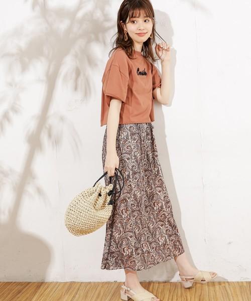 [natural couture] ぷっくりロゴ刺繍ショートTシャツ