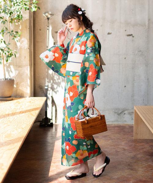 [KIMONOMACHI] レディース浴衣 「椿」 浴衣 3点セット(浴衣+帯+下駄)