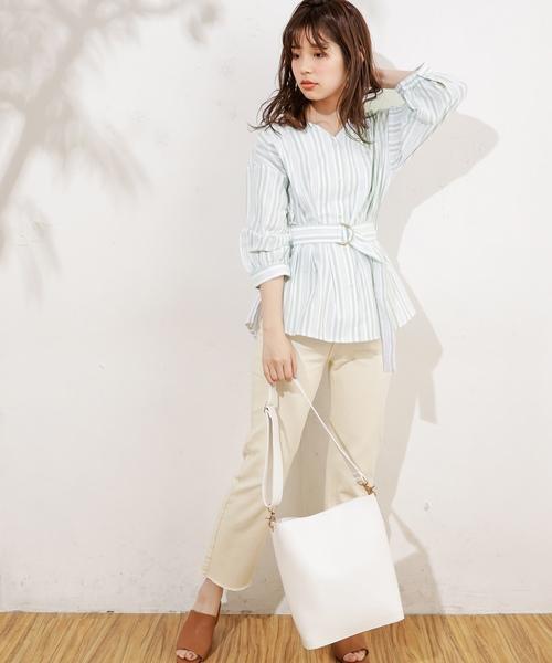 [natural couture] ベルト付きウエストマークブラウス