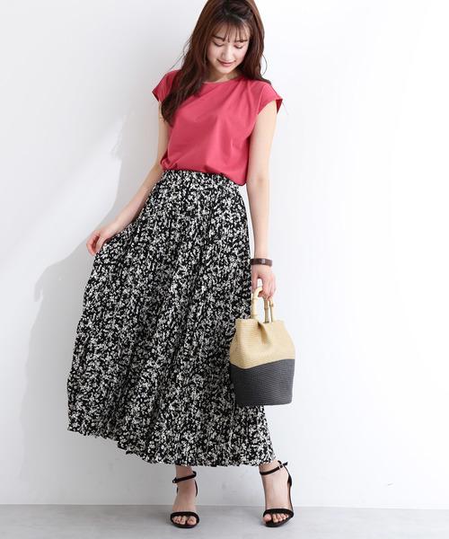 [N.(N. Natural Beauty Basic)] プリーツフラワーマキシスカート