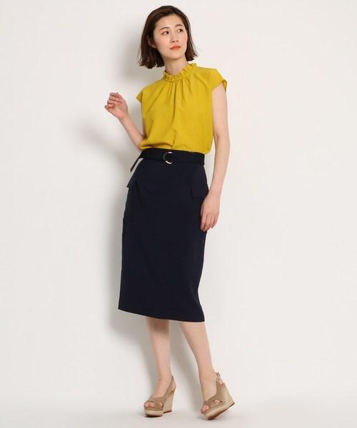 [AG by aquagirl] 【Lサイズあり】【洗える】リネン調フラップタイトスカート