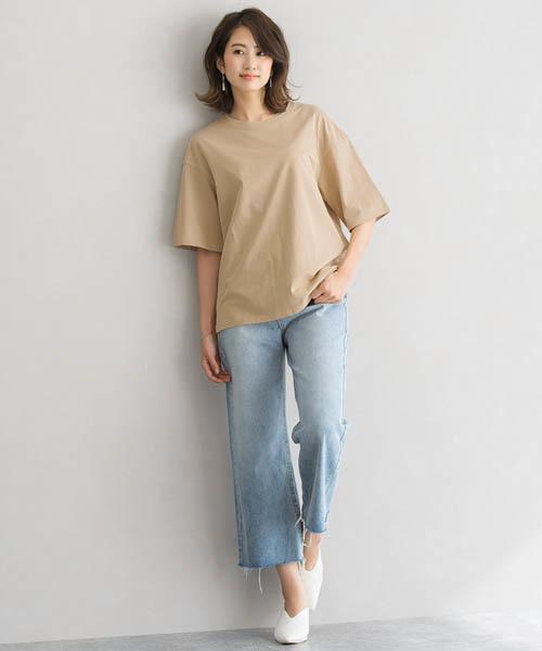 [Pierrot] オーバーサイズ クルーネック Tシャツ