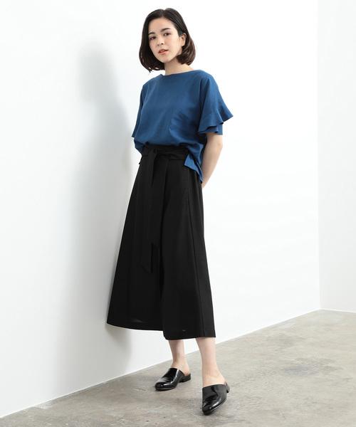 [ADAM ET ROPE'] 【セットアップ対応】リネンライクフレアースカート